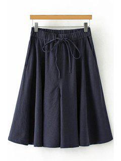 Linen Elastic Waist Drawstring Capri Pants - Cadetblue M