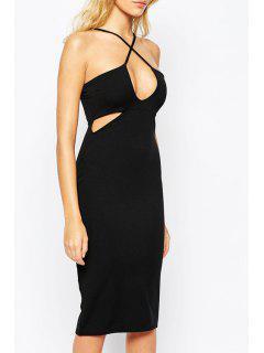 Spaghetti Strap Cross Openwork Sleeveless Dress - Black L