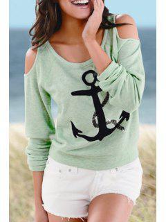 Scoop Neck Anchor Print Long Sleeve T-Shirt - Green M