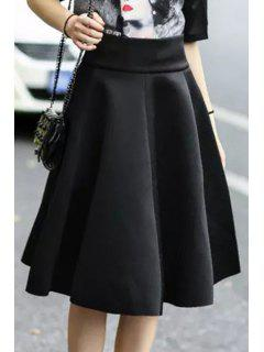 Solid Color Flouncing High Waisted Skirt - Black S