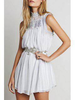 Embroidered Stand Neck Sleeveless Dress - White S