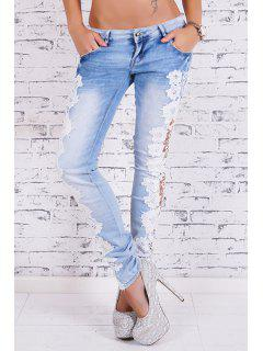 Bleach Wash Lace Spliced Pencil Jeans - Light Blue L