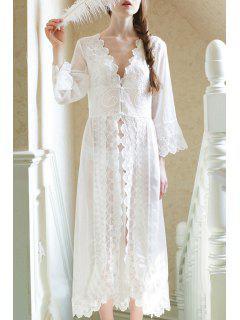 White Plunging Neck Long Sleeve Sleepwear - White M