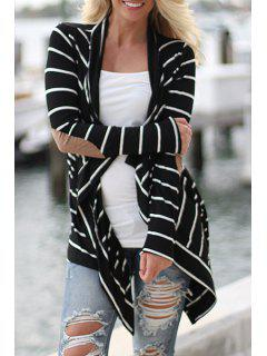 Collarless Striped Applique Irregular Hem Coat - Black S