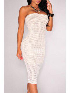 Checked Pattern Strapless Pencil Dress - White L