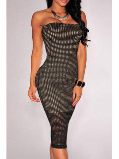 Checked Pattern Strapless Pencil Dress - Black M