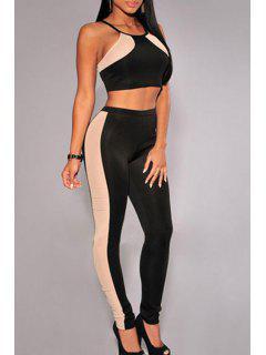 Cami Crop Top And Color Block Pants Suit - Black