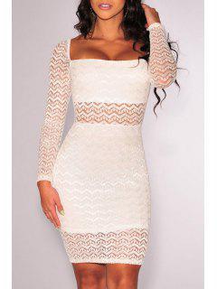 Vestido De Cuello Blanco Con Cuello Largo Bodycon - Blanco