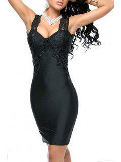 Black V Neck Sleeveless Hollow Bodycon Dress - Black