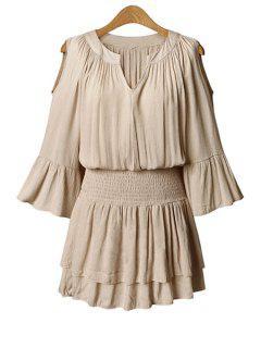 Flare Sleeve Layered Plus Size Chiffon Dress - Nude 5xl