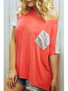Skew Neck Color Block Sequined Pocket T-Shirt - Orange M