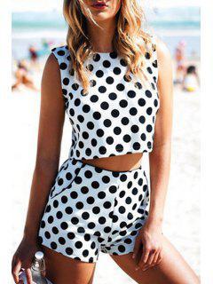 Black Polka Dot Sleeveless Crop Top + Shorts - White And Black S