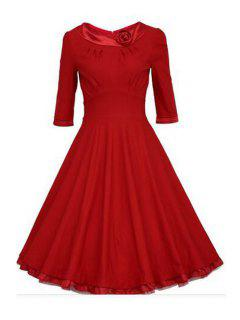 Half Sleeve Nipped Waist Ball Gown Dress - Red S