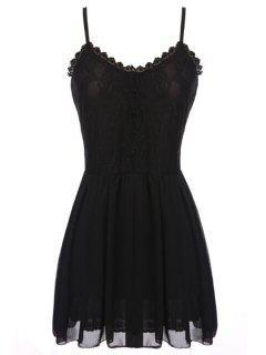 Spaghetti Strap Lace Chiffon Splicing Sleeveless Dress - Black L