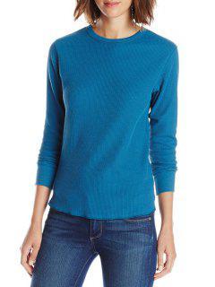 Pure Color Long Sleeve T-Shirt - Blue Xl