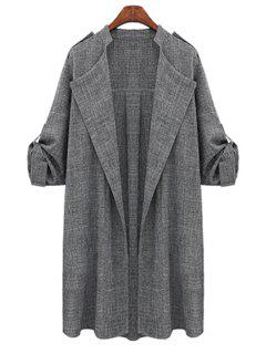 Draped Sleeve Plus Size Trench Coat - Deep Gray 4xl
