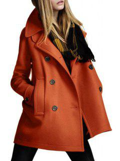 Double-Breasted Pocket Design Woolen Coat - Orange Xl