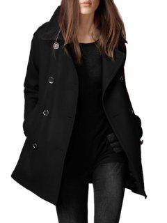 Double-Breasted Pocket Design Woolen Coat - Black Xl