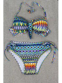 Tribal Print Halterneck Bikini Set - Light Blue M