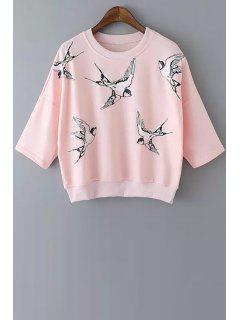 Half Sleeve Bird Print Sweatshirt - Pink S