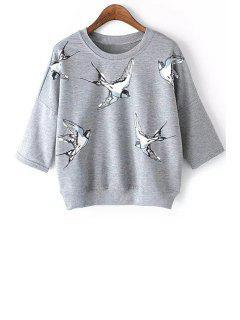 Half Sleeve Bird Print Sweatshirt - Gray S