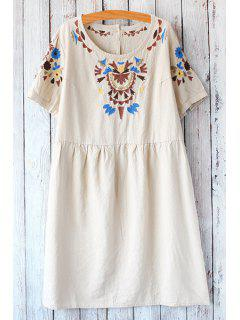 Jewel Neck Floral Embroidery Short Sleeve Dress - Off-white