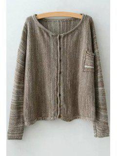 Single-Breasted Pocket Design Cardigan - Camel