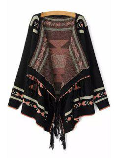 Ethnic Pattern Tassels Asymmetrical Cardigan - Black