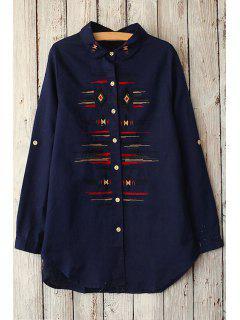 Argyle Stripe Embroidery Long Sleeve Shirt - Purplish Blue