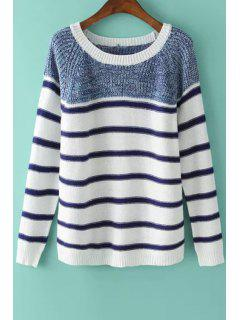 Long Sleeve Color Block Stripes Sweater - Blue And White