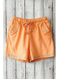 Tiny Floral Embroidery Pocket Shorts - Orange