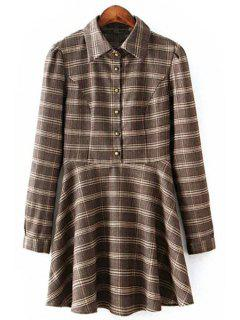 Long Sleeve Ruffled Plaid Shirt Dress - M