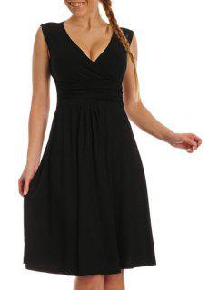 Solid Color Plunging Neck Sleeveless Midi Dress - Black L