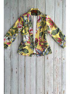 Floral Shawl Collar Long Sleeve Blazer - Deep Yellow S