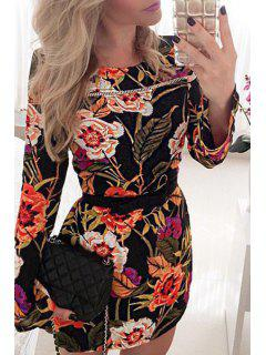 Flowers Print Round Neck Long Sleeve Dress - Jacinth Xl