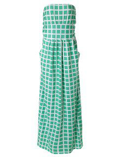 Plaid Print Strapless Maxi Dress - Azure M