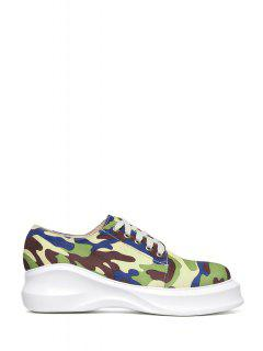 Camouflage Pattern Lace-Up Platform Shoes - Army Green 39
