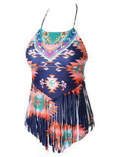 Ethnic Pattern Tassels Spliced Two-Piece Swimsuit - M