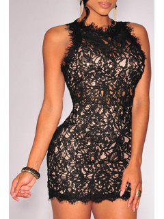 Sleeveless Openwork Lace Hook Dress - Black
