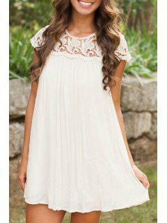 Blanco Vestido De Manga Corta Plisado - Blanco L