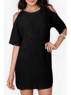 Solid Color Cut Out Chiffon Dress - Black 2xl