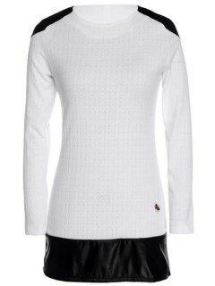 Long Sleeve Color Block Spliced Dress - White M