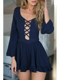 Plunging Neck Hollow Out Backless Romper - Purplish Blue Xl