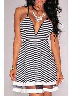Spaghetti Strap Voile Spliced Stripe Dress - White And Black L