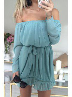 Off-The-Shoulder Long Sleeve Azure Dress - Light Blue L