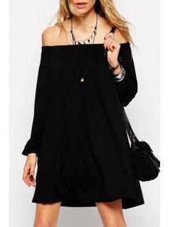 Off-The-Shoulder Long Sleeve Black Dress - Black L