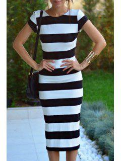 Low Back Striped Bodycon Dress - White And Black S