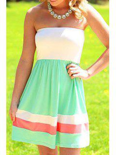 Strapless Color Block Stripes Sleeveless Dress - White And Green S