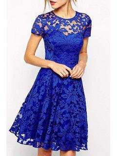 See-Through Lace Floral Short Sleeve Dress - Blue L