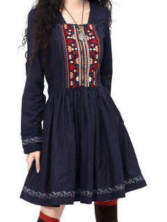Long Sleeve Embroidered Pleated Dress - Sapphire Blue L